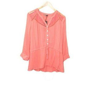 Miss Me Womens Top Blouse Pink Lace Trim Size M